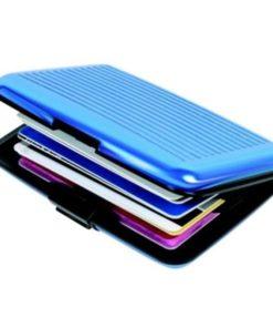 Billetera de Aluminio Color Celeste con Varias Tarjetas