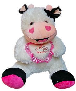 Peluche Afelpado Vaca con Corazón de Frase Feliz Cumpleaños