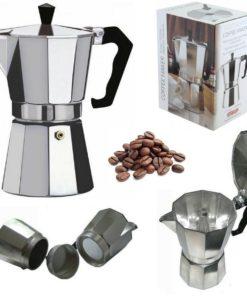 Cafetera de aluminio italiana para 6 tazas partes y caja mega bahía