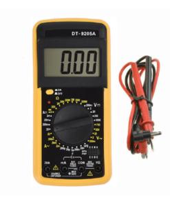 Multimetro digital de mano profesional color amarillo con cables mega bahía